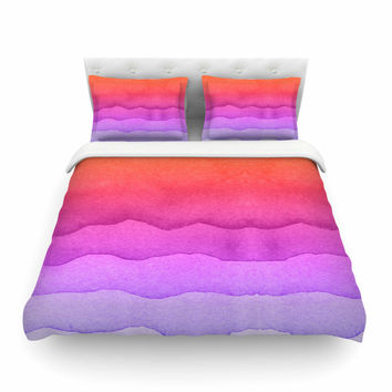 "Kess Original ""Ombre Sunset"" Coral Abstract Featherweight Duvet Cover"