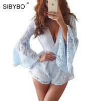 2017 New Spring Women Jumpsuit Deep V Neck Long Sleeve Beach Playsuit Overalls Sexy Lace Rompers Womens Jumpsuit