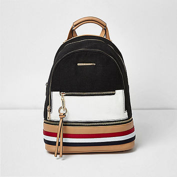 Black and white panel backpack - backpacks - bags / purses - women