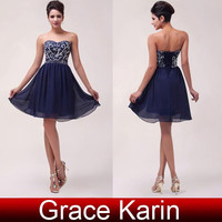 Arrival Fashion Beading Sequins Prom Party Gown Mini Short Chiffon Cocktail Dress  Backless CL6049