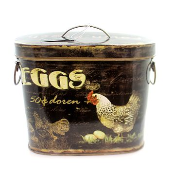 Home & Garden TIN CONTAINER W/ROOSTER & EGGS Decorative Use Only De1939 Medium