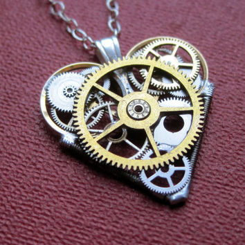 "Mini Watch Parts Heart Necklace ""Liaison"" Elegant Industrial Heart Pendant Steampunk Sculpture Gershenson-Gates Mechanical Mind Christmas"