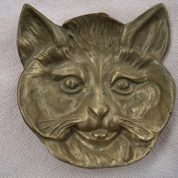 Vintage Brass Cat Ashtray / Trinket