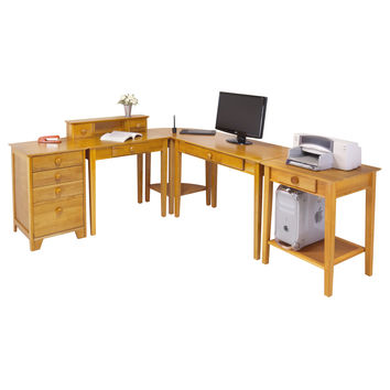 Home Office Contemporary L-Shape Computer Desk in Pine Finish