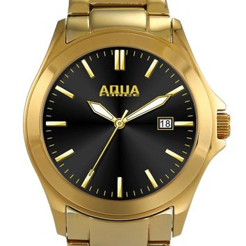 Aqua Force Elegant Black Face Dress Watch w/ Gold Stainless Steel Band (30M water resistant)