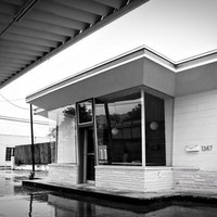 Vintage Filling Station Revival 8x12 black and white Americana photo