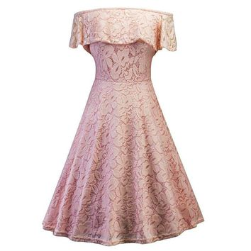 Boat Neck lace short Pale pinkish grey Bridesmaid dresses wedding party dress gown prom  women clothing