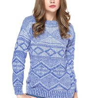 TopStyliShop Women's Stripes and Rhombus Pattern Round Neck Blue Sweater D1126