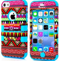 myLife Sky Blue - Colorful Tribal Pattern Series (Neo Hypergrip Flex Gel) 3 Piece Case for iPhone 5/5S (5G) 5th Generation Smartphone by Apple (External 2 Piece Fitted On Hard Rubberized Plates + Internal Soft Silicone Easy Grip Bumper Gel)