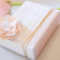 White Favor Box With Personalized Aqueous Wrap (Set of 8)