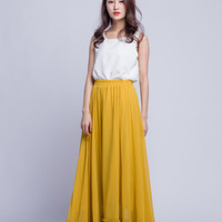 High Waist Bridesmaid Skirt Chiffon Maxi Skirts Beautiful Elastic Waist Summer Skirt Floor Length Women Skirt (301) ,62#