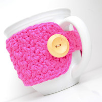 Cotton Coffee Mug Cozy, Hot Pink, Crocheted Mug Cozy, Cup Sleeve