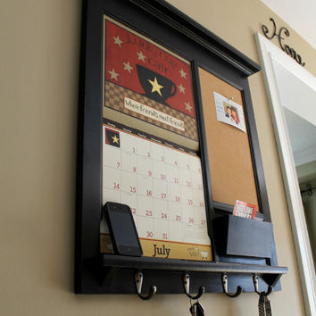 framed furniture calendar mail organizer storage and shelf with bulletin board cork chalk board or