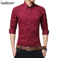 Hot Sale New Fashion Casual Men Shirt Long Sleeve Jacquard Weave Slim Fit Shirt Men Cotton Mens Dress Shirts Men Clothes 5XL