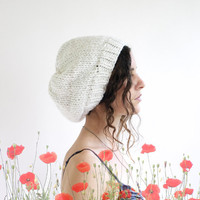 Knit Slouchy Hat - Recycled Sweater Wool Acrylic Yarn - White