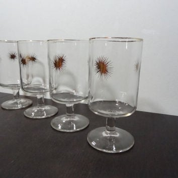 Vintage Retro Gold Atomic Starburst Stemmed Bar or Cocktail Glasses - Set of 4 - Mid Century Modern