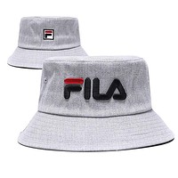 FILA Fashion Women Men Summer Embroidery Shade Sunhat Fisherman Hat Cap Grey