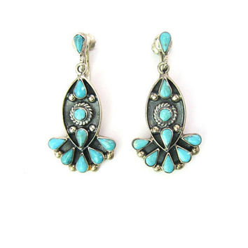 Southwestern Turquoise Dangle Earrings Taxco Mexico Sterling Silver Screw Backs Native American Zuni Style Vintage 1980s Gemstone Jewelry