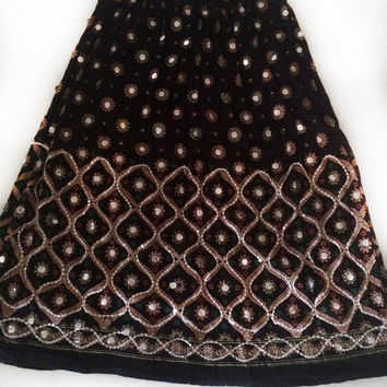 Black Indian Ankle length Maxi Skirt Long Skirt Indian Bollywood Skirt Long Tribal Skirt Ethnic Skirt Indian Skirt Embriodery border