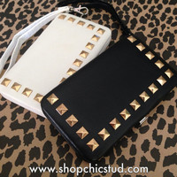 Studded Clutch Wallet for iPhone 5 5s - Black or White Faux Leather - Gold Studs-
