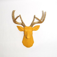 Faux Taxidermy - The Collette - Mustard Yellow W/ Gold Glitter Antlers Resin Deer Head- Stag Resin