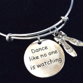 Dance Like No One is Watching Silver Adjustable Expandable Wire Bangle Charm Bracelet Ballet Teacher Gift