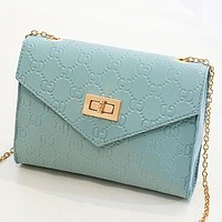 New Fashion More Letter Leather Chain Shoulder Bag Crossbody Bag Blue