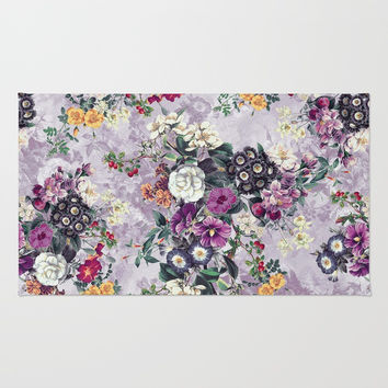 Botanical Flowers Purple Rug by RIZA PEKER