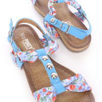 Blue Floral Print Studded T Strap Sandals Fabric
