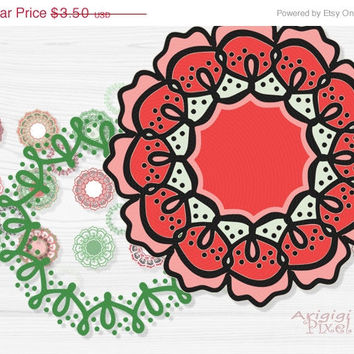 WEEKEND SALE 50% OFF retro flowers clip art set, funky wreaths, photoshop elements, small business use, Christmas colors, instant download