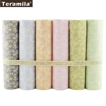 Teramila Cotton Fabric New Arrivals 6PCS/lot Floral Designs 45cmx45cm Sewing Tissus Baby Dress Home Textile Quilting Patchwork