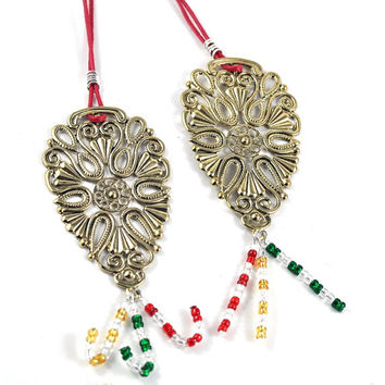 Christmas Ornament Xmas Colours Tree Decoration Gold Silver Green Red White Set of Two
