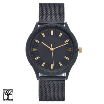 Jewelry Kay style Men's Women's Fashion Black Plated Metal Mesh Band Unisex Watches WM 15188 BK