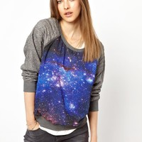 Maison Scotch Sweat with Galaxy Print Panel