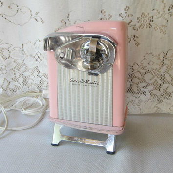 Retro Pink Can-O-Matic Electric Can Opener , Vintage 50's Pink Can Opener on Folding Legs , Girly Vintage Kitchen Appliance