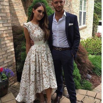 White Lace High Low Prom Dresses 2017 Cap Sleeve Champagne Lining A Line Girls Formal Party Graduation Dresses
