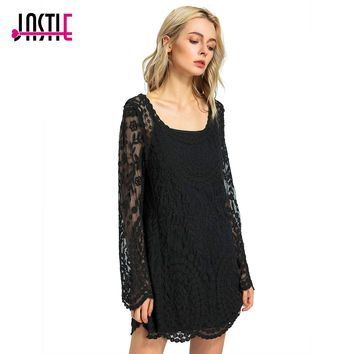 Jastie Commemorative Bell Sleeve Dress Casual femininos Crochet Floral Lace embroidery dresses Sheer Boho People Women Magenta