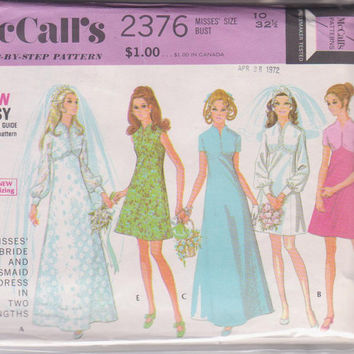 70s vintage pattern for  A- line wedding gown or bridesmaid dress, special occasion dress misses size 10 McCalls 2376 CUT and COMPLETE
