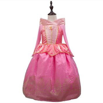 Vintage Sleeping Beauty Princess costume spring autumn pink girl dress Princess Aurora Dresses for girls party Costume free ship