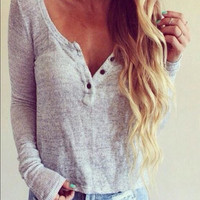 V-Neck Long Sleeved Shirt Top Blouse