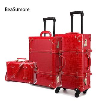 Retro Crocodile PU Leather Rolling Luggage Sets Spinner Women Password Suitcase Wheels Cabin Vintage Trolley