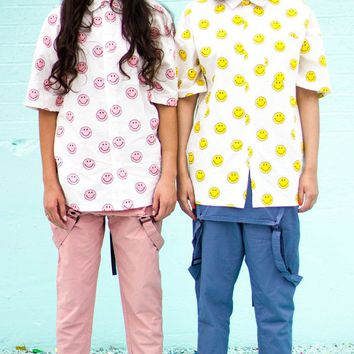 Unisex Smiley Face Button Down Shirt   Yellow/Pink