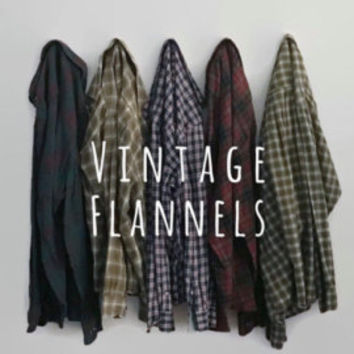 Vintage upcycled Flannel Shirts // Distressed Flannels