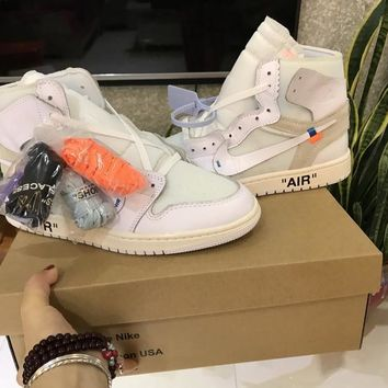 off white x air jordan 1 white sneaker shoe