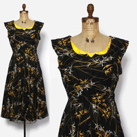 Vintage 50s NOVELTY Print DRESS / 1950s Bamboo Print Rhinestone Trim Cotton Sun Dress
