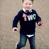 Photography Session Navy two Birthday Shirt - long sleeves red, chevron, Pez, green circles- Boys 2nd Birthday- 2 year old cake and party theme