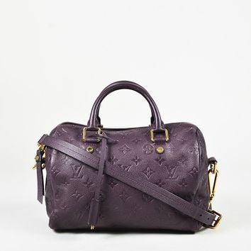"Louis Vuitton ""Aube"" Purple Monogram Leather ""Speedy Bandouliere 25"" Bag"