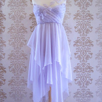Party Dress Handmade  Bridesmaid  Dress Evening Clothing Holiday Women Alternative Wedding : PAULINA Lilac Chiffon Dress Custom Size