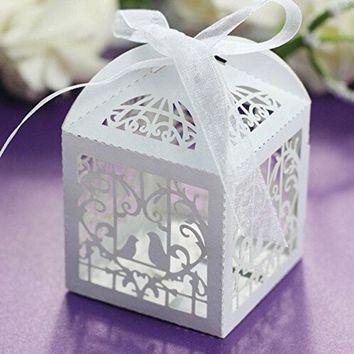 CREYUG3 50 Pcs Sets White Love Birds Laser Cut Favor Candy Box with Ribbons Bridal Shower Wedding Party Favors Decor (Color: White) = 1932188676
