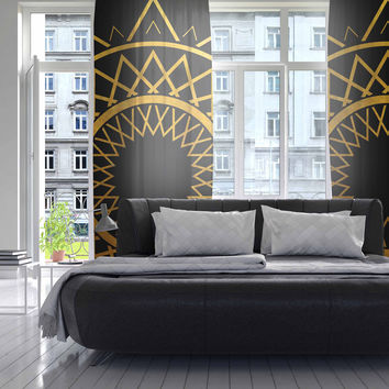 "Matt Eklund ""Gilded Sundial"" Gold Black Decorative Sheer Curtain"
